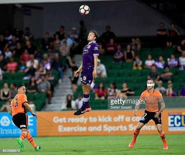 Chris Harold of the Glory heads the ball during the round 20 ALeague match between Perth Glory and Brisbane Roar at nib Stadium on February 18 2017...