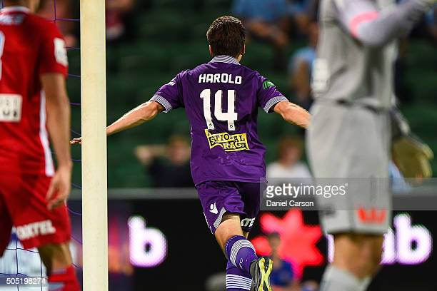 Chris Harold of the Perth Glory celebrates a goal during the round 15 ALeague match between Perth Glory and Melbourne City FC at nib Stadium on...