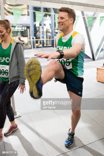Chris Harper takes part in the Gherkin Challenge for the NSPCC at The Gherkin on October 22 2017 in London England