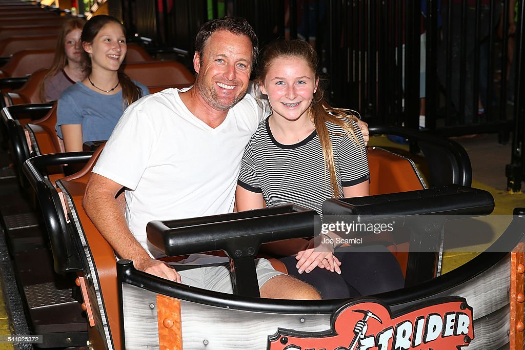 Chris Harrison and Taylor Harrison attend the relaunch of GhostRider at Knott's Berry Farm on June 30 2016 in Buena Park California
