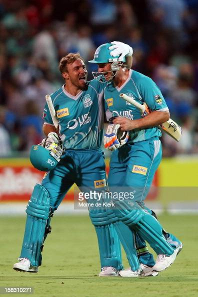 Chris Hartley and Peter Forrest of the Heat celebrates after the Big Bash League match between the Adelaide Strikers and the Brisbane Heat at...