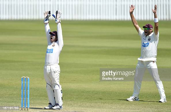 Chris Hartley and Ryan Harris of the Bulls successfully appeal for the wicket of Ben Hilfenhaus of the Tigers during day two of the Sheffield Shield...