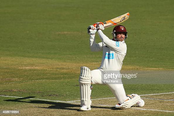 Chris Hartley of Queensland bats during day one of the Sheffield Shield match between Western Australia and Queensland at the WACA on November 8 2014...