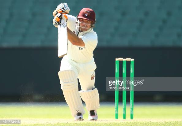 Chris Hartley of Queensland bats during day two of the Sheffield Shield match between Victoria and Queensland at Melbourne Cricket Ground on October...