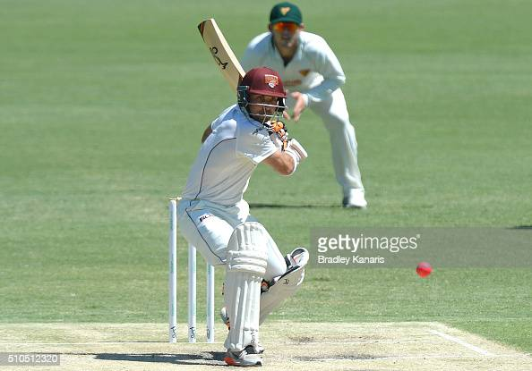 Chris Hartley of Queensland plays a shot during day three of the Sheffield Shield match between Queensland and Tasmania at The Gabba on February 16...