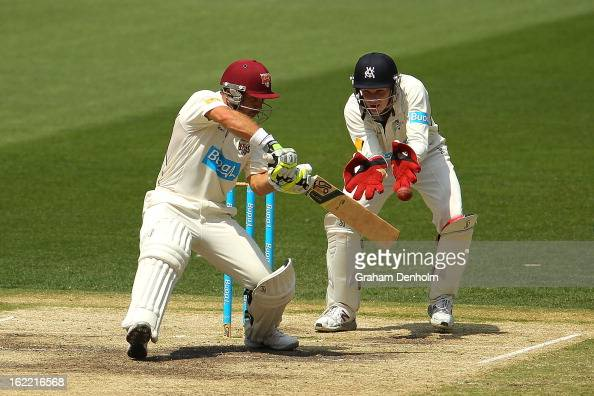 Chris Hartley of the Bulls bats during day four of the Sheffield Shield match between the Victorian Bushrangers and the Queensland Bulls at Melbourne...