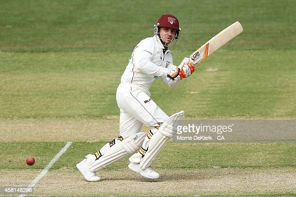 Chris Hartley of the Bulls bats during day one of the Sheffield Shield match between South Australia and Queensland at Adelaide Oval on October 31...