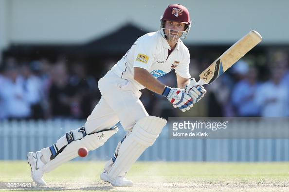 Chris Hartley of the Bulls bats during day three of the Sheffield Shield match between the South Australia Redbacks and the Queensland Bulls at...
