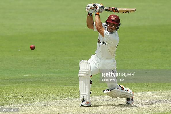 Chris Hartley of the Bulls bats during day three of the Sheffield Shield match between the Queensland Bulls and South Australia Redbacks at The Gabba...