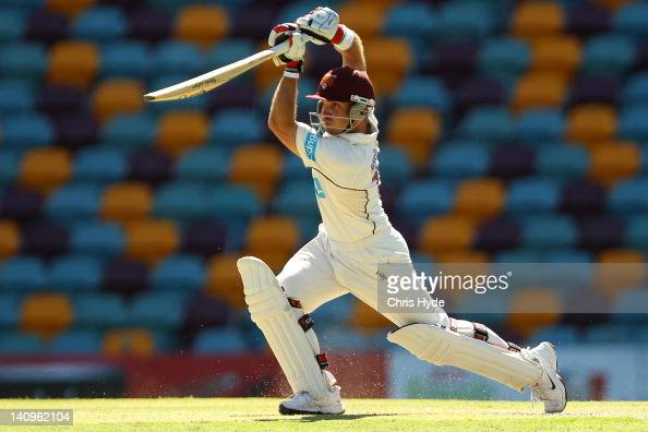 Chris Hartley of the Bulls bats during day two of the Sheffield Shield match between the Queensland Bulls and the South Australia Redbacks at The...