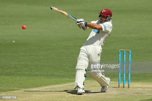 Chris Hartley of the Bulls bats during day two of the Sheffield Shield match between Queensland and Western Australia at The Gabba on March 4 2014 in...
