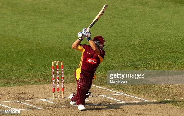 Chris Hartley of the Bulls bats during the Ryobi Cup Final match between the Queensland Bulls and the New South Wales Blues at North Sydney Oval on...