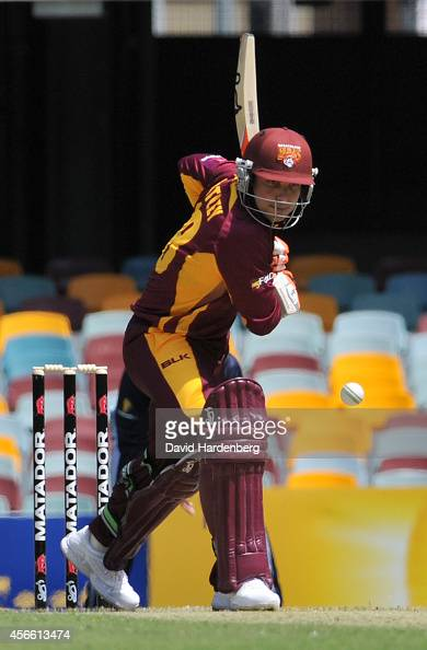 Chris Hartley of the Bulls bats the ball during the Matador BBQs One Day Cup match between Queensland and Victoria at The Gabba on October 4 2014 in...