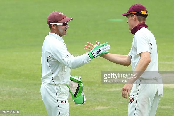 Chris Hartley of the Bulls celebarates after taking a catch in his record breaking inning of taking the most first class dismissals for Queenland...