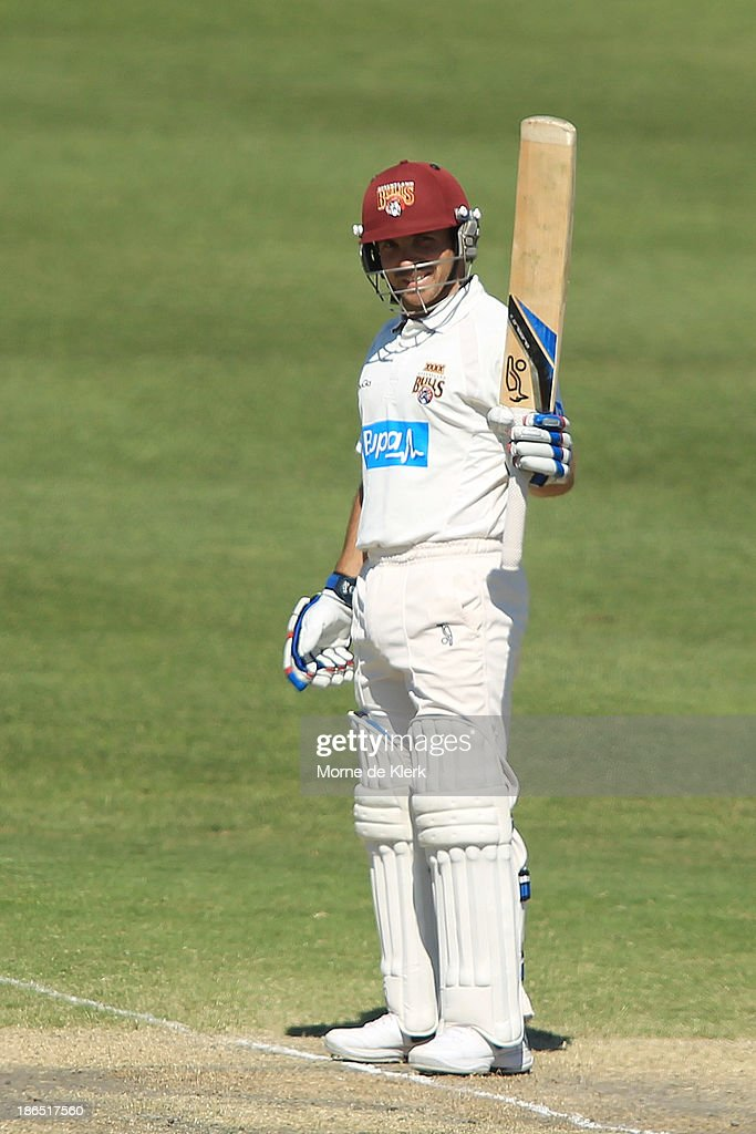 Chris Hartley of the Bulls celebrates after reaching 50 runs during day three of the Sheffield Shield match between the South Australia Redbacks and the Queensland Bulls at Glenelg Oval on November 1, 2013 in Adelaide, Australia.