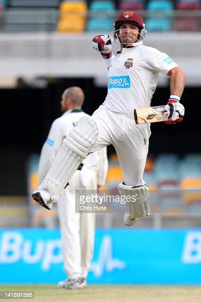 Chris Hartley of the Bulls celebrates winning the Sheffield Shield match between the Queensland Bulls and the Tasmania Tigers at The Gabba on March...