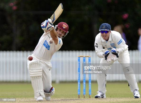 Chris Hartley of the Bulls drives the ball to the boundary for a four during day four of the Sheffield Shield match between the Bulls and the Blues...