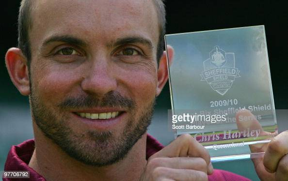 Chris Hartley of the Bulls poses with WeetBix Sheffield Shield Player of the Series trophy at the 20092010 Cricket Australia State Cricket Awards...