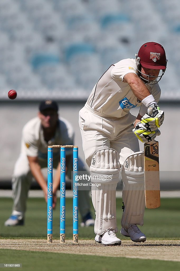 Chris Hartley of the Queensland Bulls gets caught behind during day one of the Sheffield Shield match between the Victorian Bushrangers and the Queensland Bulls at Melbourne Cricket Ground on February 18, 2013 in Melbourne, Australia.