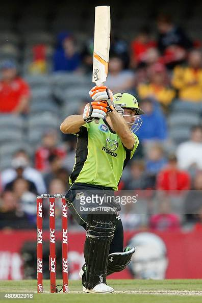 Chris Hartley of the Sydney Thunder bats during the Big Bash League match between the Melbourne Renegades and the Sydney Thunder at Etihad Stadium on...