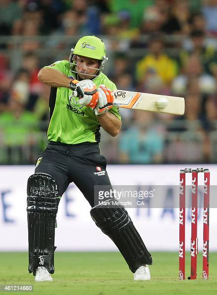 Chris Hartley of the Thunder bats during the Big Bash League match between the Sydney Thunder and Hobart Hurricanes at Spotless Stadium on January 9...