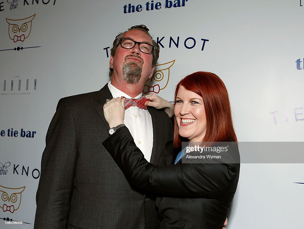 Chris Haston and Kate Flannery at the launch of Tie The Knot, a charity benefitting marriage equality through the sale of limited edition bowties available online at TheTieBar.com/JTF held at The London West Hollywood on November 14, 2012 in West Hollywood, California.