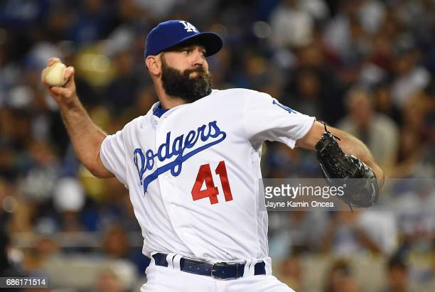 Chris Hatcher of the Los Angeles Dodgers in the ninth inning of the game against the Miami Marlins at Dodger Stadium on May 19 2017 in Los Angeles...