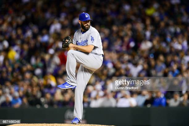 Chris Hatcher of the Los Angeles Dodgers pitches against the Colorado Rockies in the eighth inning of a game at Coors Field on April 8 2017 in Denver...