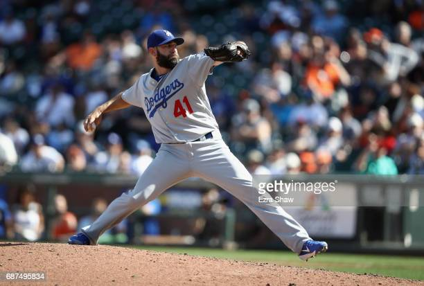Chris Hatcher of the Los Angeles Dodgers pitches against the San Francisco Giants at ATT Park on April 27 2017 in San Francisco California