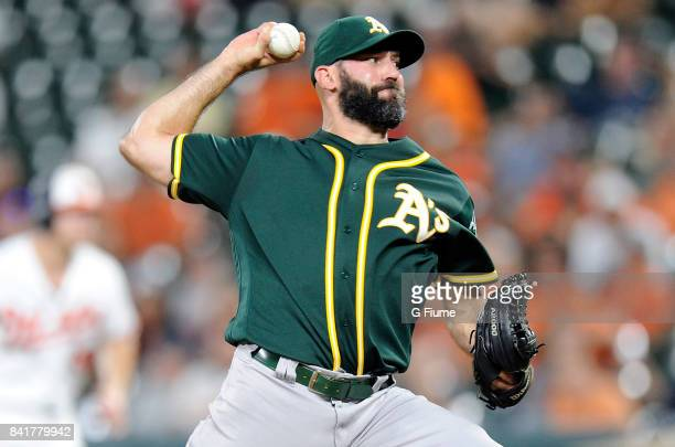 Chris Hatcher of the Oakland Athletics pitches against the Baltimore Orioles at Oriole Park at Camden Yards on August 22 2017 in Baltimore Maryland