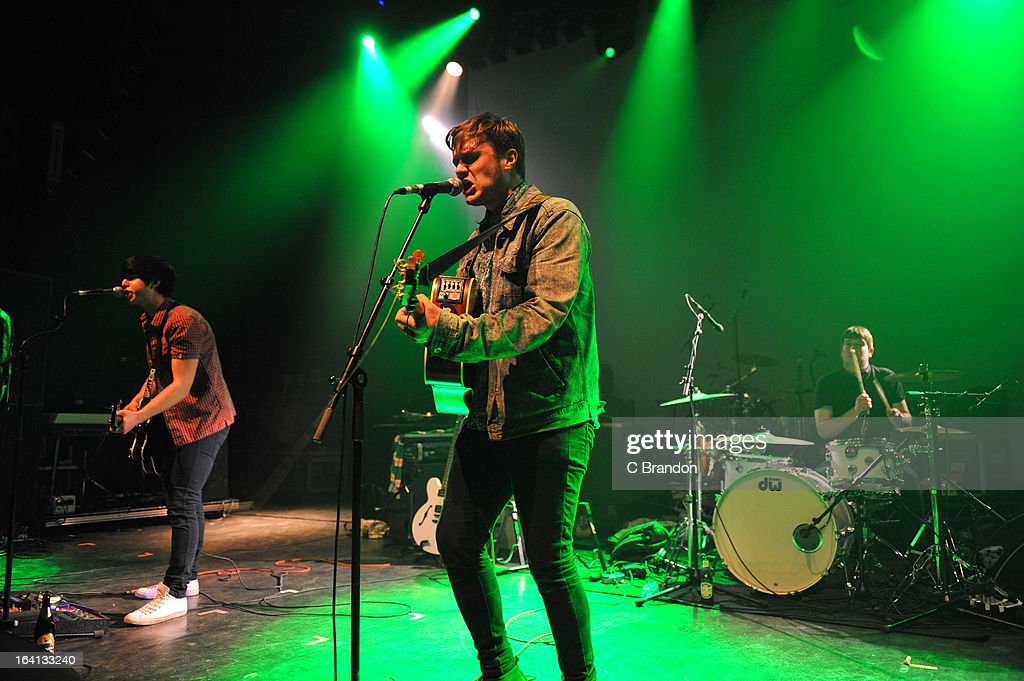 Chris Heggie, Tom Rowlett and Chris Mardon of Dexters perform on stage at O2 Shepherd's Bush Empire on March 17, 2013 in London, England.