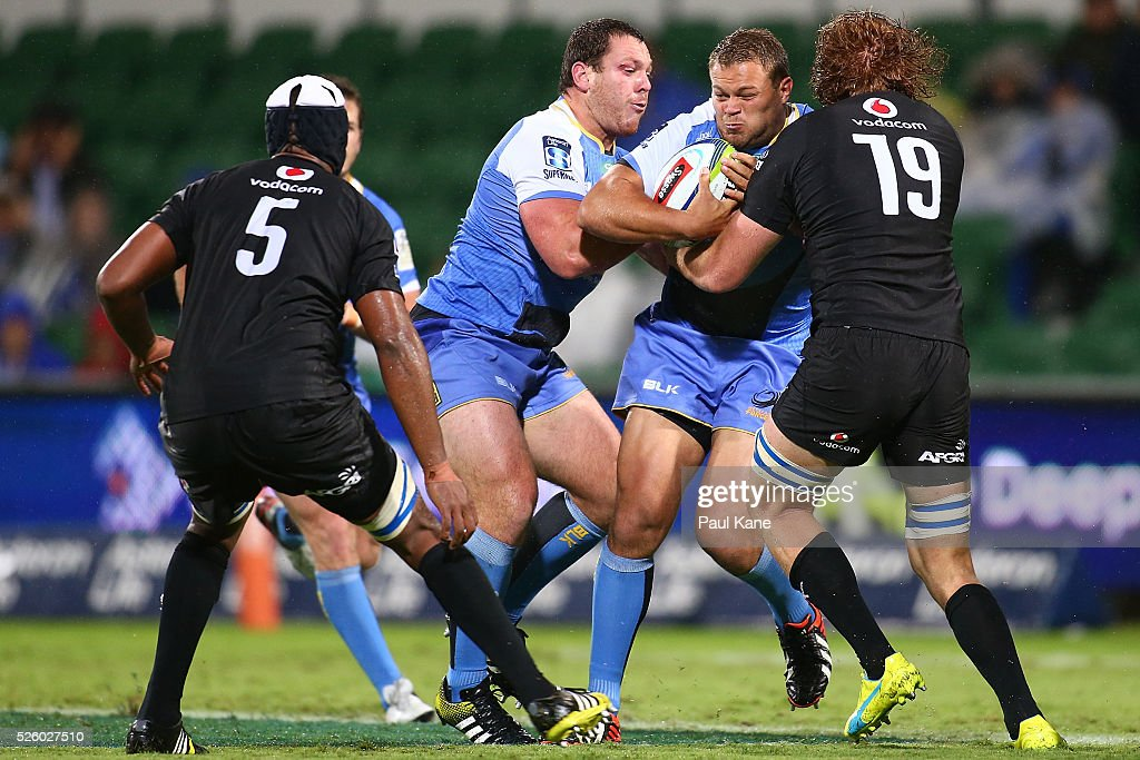 Chris Heiberg of the Force gets tackled by Casper Kirsten of the Bulls during the round 10 Super Rugby match between the Force and the Bulls at nib Stadium on April 29, 2016 in Perth, Australia.