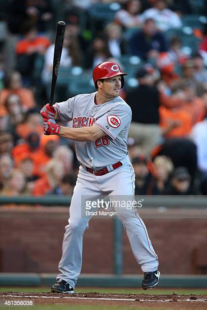 Chris Heisey of the Cincinnati Reds bats during the game against the San Francisco Giants at ATT Park on Friday June 27 2014 in San Francisco...