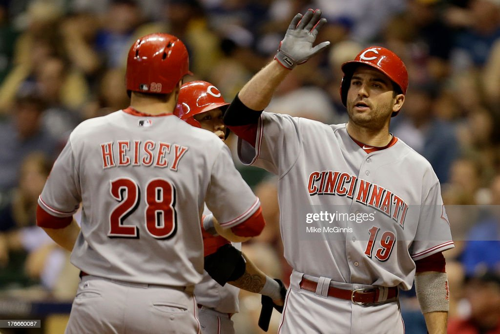 <a gi-track='captionPersonalityLinkClicked' href=/galleries/search?phrase=Chris+Heisey&family=editorial&specificpeople=5971787 ng-click='$event.stopPropagation()'>Chris Heisey</a> #28 of the Cincinnati Reds celebrates with <a gi-track='captionPersonalityLinkClicked' href=/galleries/search?phrase=Joey+Votto&family=editorial&specificpeople=759319 ng-click='$event.stopPropagation()'>Joey Votto</a> after hitting a two-run home run in the top of the fifth inning against the Milwaukee Brewers at Miller Park on August 16, 2013 in Milwaukee, Wisconsin.