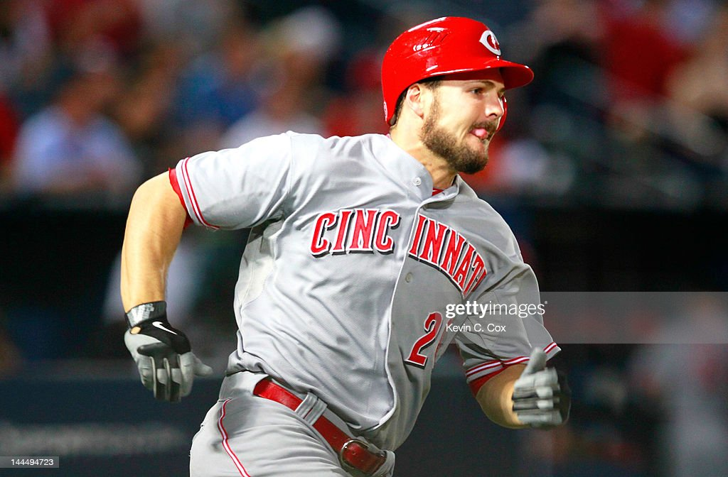 <a gi-track='captionPersonalityLinkClicked' href=/galleries/search?phrase=Chris+Heisey&family=editorial&specificpeople=5971787 ng-click='$event.stopPropagation()'>Chris Heisey</a> #28 of the Cincinnati Reds hits a RBI double in the eighth inning against the Atlanta Braves at Turner Field on May 14, 2012 in Atlanta, Georgia.