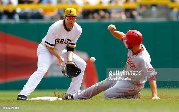 Chris Heisey of the Cincinnati Reds steals second base in front of Neil Walker of the Pittsburgh Pirates during the game on April 14 2013 at PNC Park...