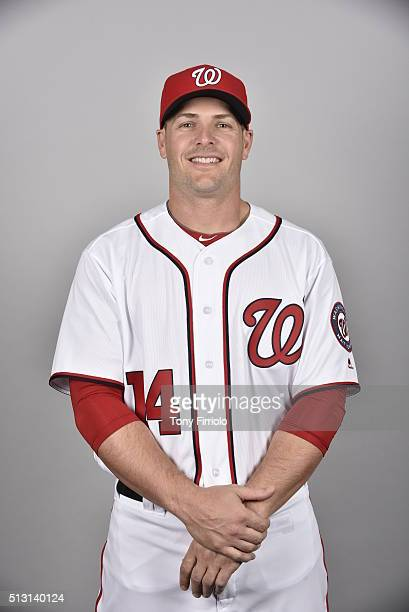 Chris Heisey of the Washington Nationals poses during Photo Day on Sunday February 28 2016 at Space Coast Stadium in Viera Florida