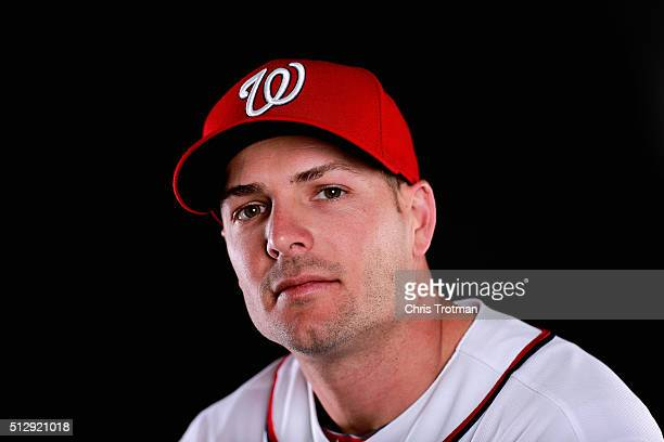 Chris Heisey of the Washington Nationals poses for a portrait at Spring Training photo day at Space Coast Stadium on February 28 2016 in Viera Florida
