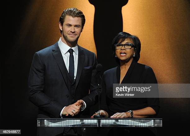 Chris Hemsworth and Academy President Cheryl Boone Isaacs announce the nominees at the 86th Academy Awards Nominations Announcement at the AMPAS...