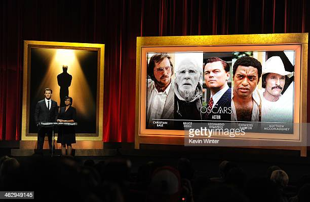 Chris Hemsworth and Academy President Cheryl Boone Isaacs announce the nominees for Best Actor at the 86th Academy Awards Nominations Announcement at...