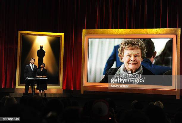 Chris Hemsworth and Academy President Cheryl Boone Isaacs announce Judi Dench as a nominee for Best Actress at the 86th Academy Awards Nominations...