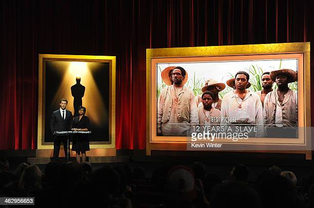 Chris Hemsworth and Academy President Cheryl Boone Isaacs announce the film '12 Years a Slave' as a nominee for Best Picture at the 86th Academy...