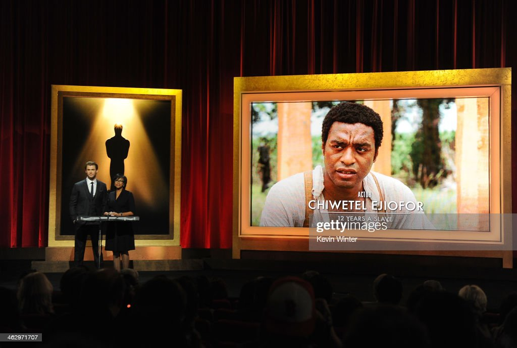 Chris Hemsworth and Academy President Cheryl Boone Isaacs announce Chiwetel Ejiofor as a nominee for Best Actor in the film '12 Years a Slave' at the...