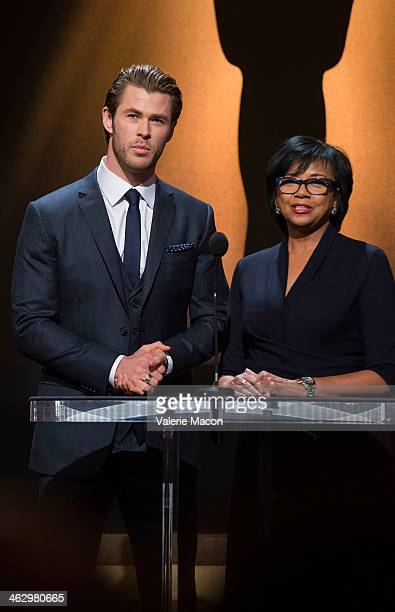 Chris Hemsworth and Academy President Cheryl Boone Isaacs announce the nominees at the 86th Academy Awards Nominations Announcementat AMPAS Samuel...