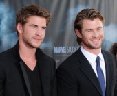 Chris Hemsworth and brother Liam Hemsworth arrive at the Los Angeles Premiere of 'Thor' at the El Capitan Theater on May 2 2011 in Hollywood...
