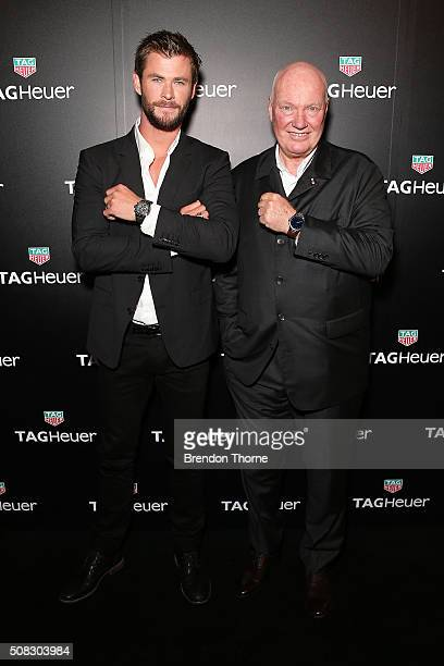 Chris Hemsworth and CEO of Tag Heuer JeanClaude Biver arrive at the Australian launch of Heuer 01 at The Royal Botanic Gardens on February 4 2016 in...