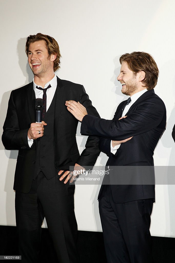 <a gi-track='captionPersonalityLinkClicked' href=/galleries/search?phrase=Chris+Hemsworth&family=editorial&specificpeople=646776 ng-click='$event.stopPropagation()'>Chris Hemsworth</a> and Daniel Bruehl attends the German premiere of the film 'Rush' at Cinedom on September 28, 2013 in Cologne, Germany.