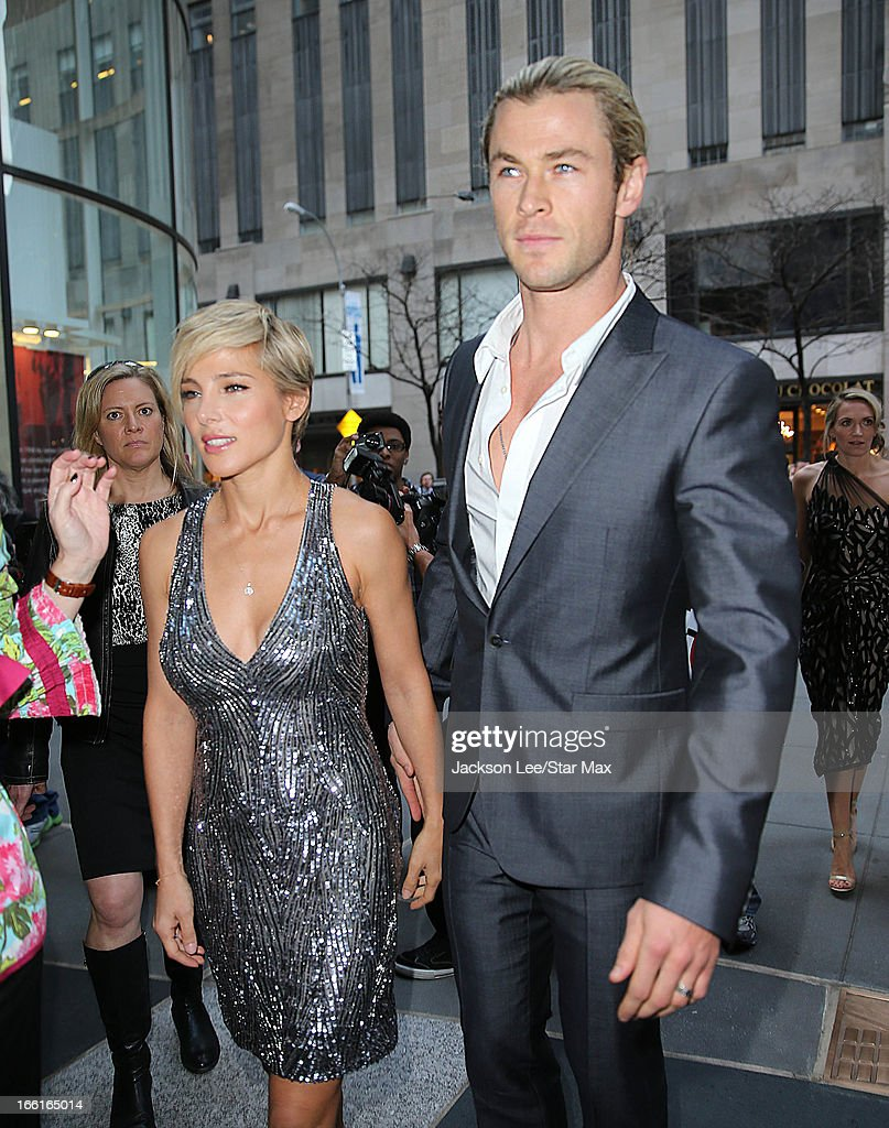 Chris Hemsworth and Elsa Pataky as seen on April 8, 2013 in New York City.