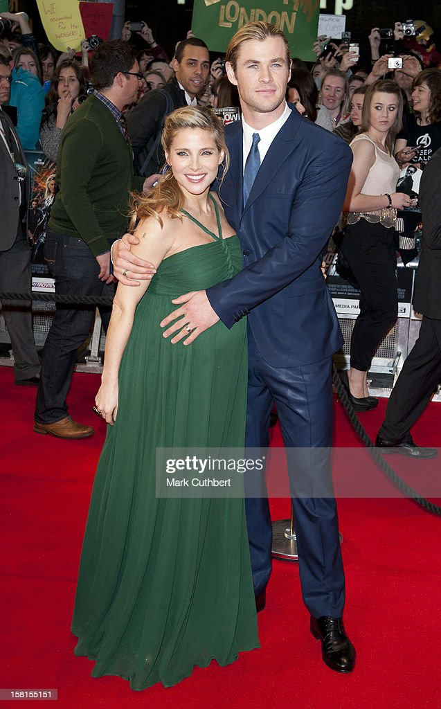 Chris Hemsworth And Elsa Pataky Attend Marvel Avengers Assemble European Premiere At Vue Westfield On April 19, 2012 In London.