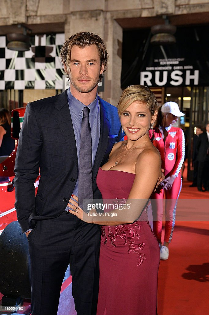 <a gi-track='captionPersonalityLinkClicked' href=/galleries/search?phrase=Chris+Hemsworth&family=editorial&specificpeople=646776 ng-click='$event.stopPropagation()'>Chris Hemsworth</a> and <a gi-track='captionPersonalityLinkClicked' href=/galleries/search?phrase=Elsa+Pataky&family=editorial&specificpeople=242789 ng-click='$event.stopPropagation()'>Elsa Pataky</a> attend 'Rush' The Movie Rome Premiere at Auditorium della Conciliazione on September 14, 2013 in Rome, Italy.